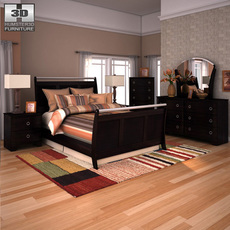 Ashley Pinella Sleigh Bedroom Set 3D Model