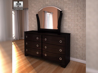 Ashley Pinella Dresser & Mirror 3D Model