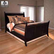 Ashley  Pinella Queen Sleigh Bed 3D Model