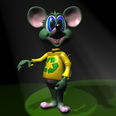 Green Mouse RIGGED 3D Model