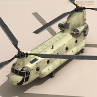 CH-47 US Army Desert Helicopter 3D Model