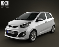 Kia Picanto 2012 with HQ Interior 3D Model