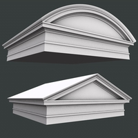round and triangular Roman Tuscan pediment and architrave low high 3D Model  3D Model