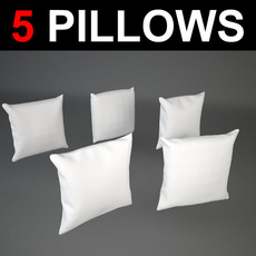 5 square shaped Pillows 3D Model