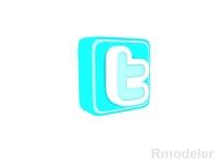 Twitter Letter 3d Logo 3D Model