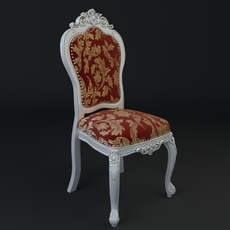 Antique Chair Brocade Armless 3D Model