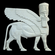 Assyrian bas relief sculpture centaur 3D Model