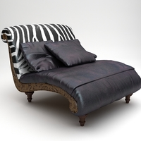 Zebra Settee Lounge Chair Sofa 3D Model