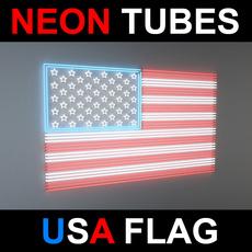 Neon Tubes USA Flag 3D Model