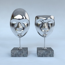 Decorative Accessories - 2 masks on stands 3D Model