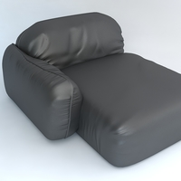 Piumotto Leather Chaise Chair 3D Model