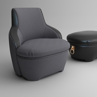 Armchair and ottoman 3D Model