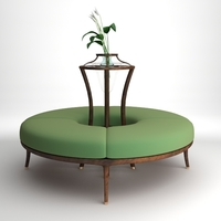 Round Bench with flowers 3D Model