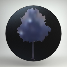 Round Wall Mirror with Frosted Tree Design 3D Model