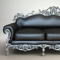 Ornate Baroque Sofa 3D Model
