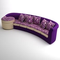 Italian Designer Long Sofa 3D Model