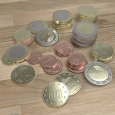 German Euro coins 3D Model