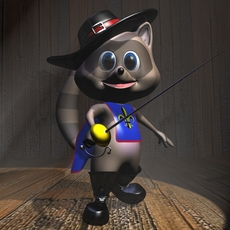 Racoon Musketeer Cartoon Character Rigged 3D Model