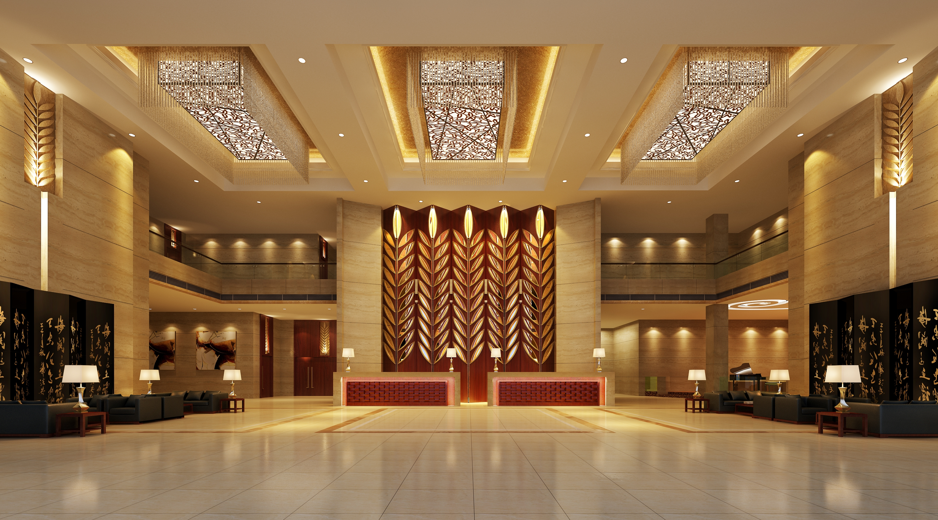 Hotel Lobby Area 48 3D Model