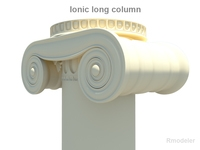 Greek ionic long column 3D Model