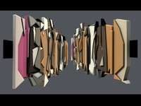 Abstract Grafitti Wall Sculpture Decoration high low polygon 3D Model
