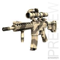 Colt M4A1 SOPMOD Aimpoint Desert Camo 3D Model
