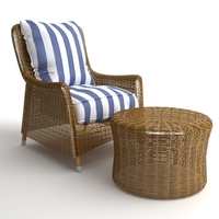 Wicker Armchair & Ottoman 3D Model
