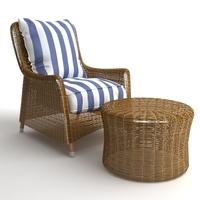 Wicker Armchair & Ottoman 3D Model