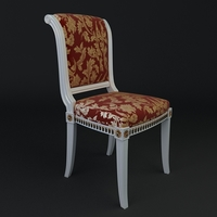 Antique Chair Brocade Armless 3 3D Model