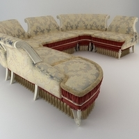 Baroque Antique Sofa 3D Model