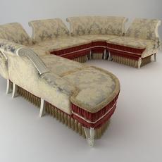 Baroque Antique Sofa 3D Model