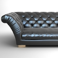 Tufted Sofa with Wing Arms 3D Model