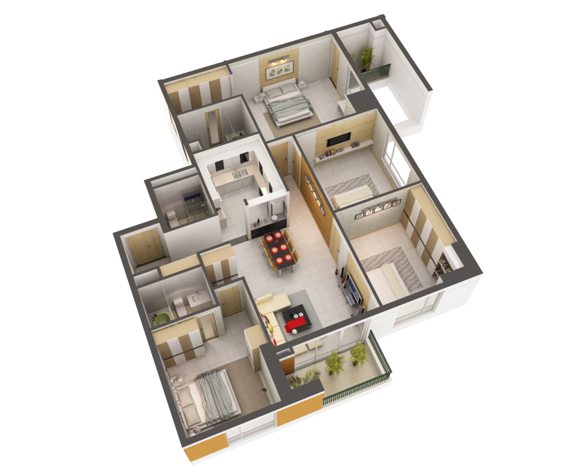 3D Model Detailed House Interior 2 3D Model