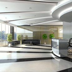 Detailed lobby office Scene 3D Model