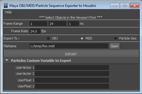Maya To Houdini Particles/Mdd/Obj exporter for Maya