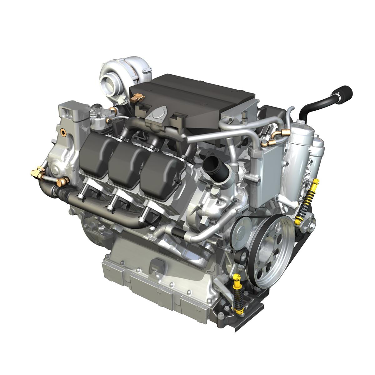 diesel turbo engine with inner workings 3d model. Black Bedroom Furniture Sets. Home Design Ideas