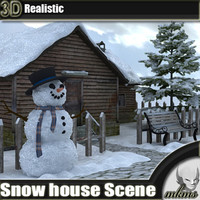 Snow house Scene 3D Model
