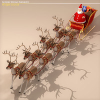 Toon Santa in Sleigh with Reindeer 3D Model