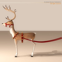 Santa Reindeer Cartoon 3D Model