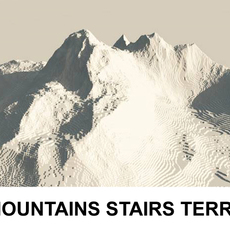 3d Terrain Mountains with stairs 3D Model
