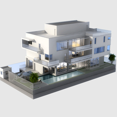 3D Model Luxury Contemporary House with Pool 3D Model