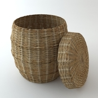 Wicker Basket with Cover 3D Model
