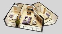 3D Model Detailed House Cutaway View 6 3D Model