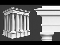 Classical Roman Tuscan Column Entablature & Pedestal 3D Model