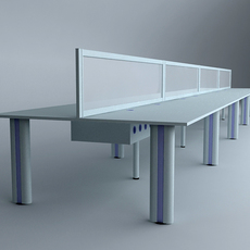 Long Workstation Desk 3D Model