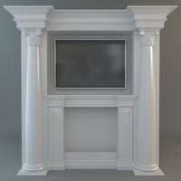 Classical Style Wall with Flatscreen TV 3D Model