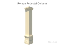 Square Column Pedestal   3D Model