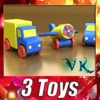 3D Model Wooden Toy Car Truck & Plane 3D Model
