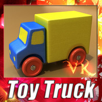 3d model of a Wooden Toy Truck. 3D Model