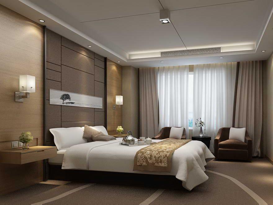 Guest room 053 3d model for Interior design bedroom 3d max